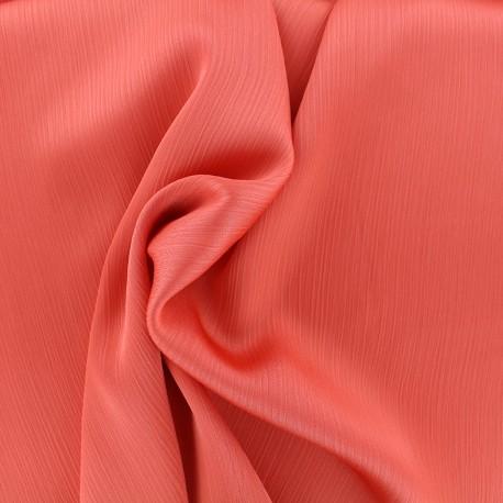 Tissu crêpe froissé - corail x 10cm