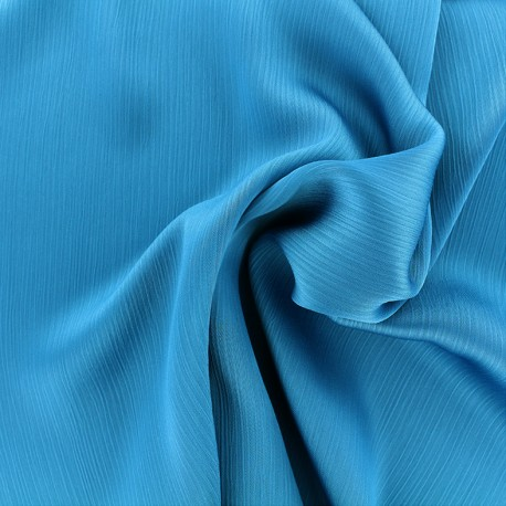 Tissu crêpe froissé - turquoise x 10cm