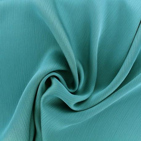 Tissu crêpe froissé - bleu paon x 10cm