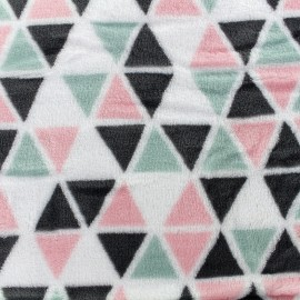Tissu Doudou Delta remix - rose/vert d'eau x 10cm