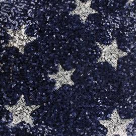 Tissu paillettes cousues Cocktail - bleu nuit x 10cm