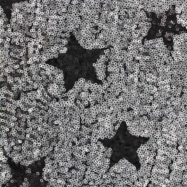 Tissu paillettes cousues Cocktail - argent x 10cm