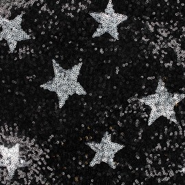 Sewn Sequin Fabric Cocktail - black x 10cm