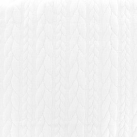 Tissu Jersey jacquard Knit - blanc x 10cm