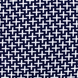 Tissu jacquard stretch Cross - bleu nuit x 10cm