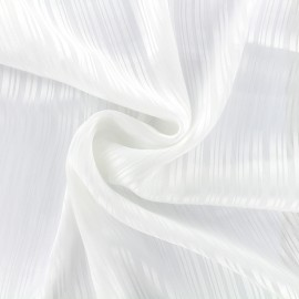 Striped crepe Fabric Shiny - white x 10cm