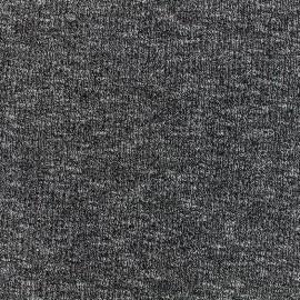Tissu jersey maille cotelé chiné - noir x 10cm