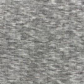 Tissu jersey maille cotelé chiné rayures 10mm - gris x 10cm