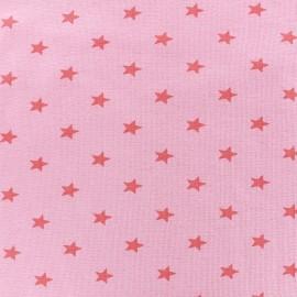 Knitted Jersey 1/1 tubular edging fabric Stars - pink x 10cm