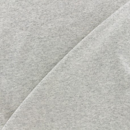 Knitted Jersey 1/1 tubular edging fabric - light mocked grey x 10cm