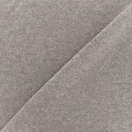 Jersey tubulaire bord-côte chiné 1/2 - brun x 10cm