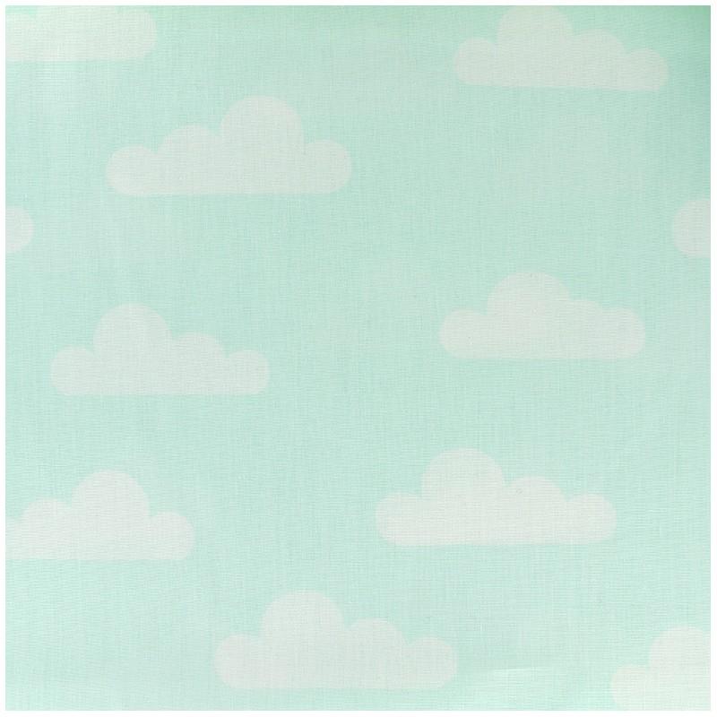 tissu coton popeline nuage vert deau x 10cm - Tapis Vert D Eau