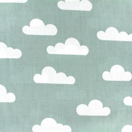 Tissu coton popeline Color Nuage - vert sauge x 10cm