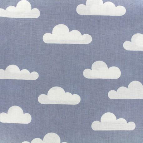 Tissu coton popeline Nuage - bleu x 10cm