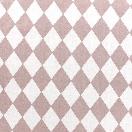 Cotton poplin fabric Arlequin - old pink x 10cm