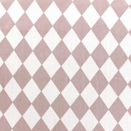 Tissu coton popeline Arlequin - vieux rose x 10cm