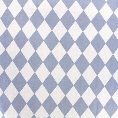 Cotton poplin fabric Arlequin - blue x 10cm