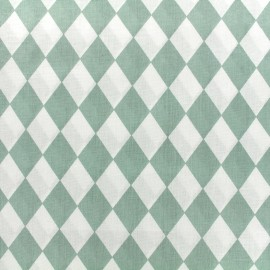 Cotton poplin fabric Color Arlequin - sauge green x 10cm