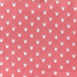 Cotton poplin fabric Color Royal - coral x 10cm