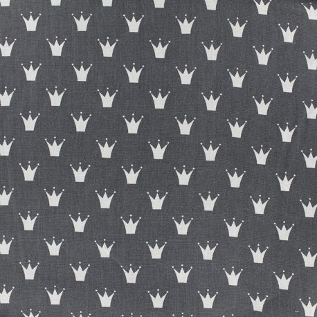 Cotton poplin fabric Royal - anthracite x 10cm