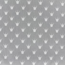 Cotton poplin fabric Color Royal - light grey x 10cm