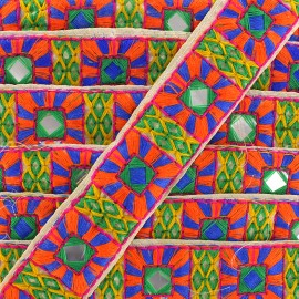 Trimming ribbon India Pondichery - orange/ blue x 50cm