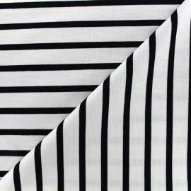 Tissu jersey réversible Marinière - noir/écru x 10cm