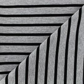 ♥ Coupon 90 cm X 160 cm ♥ Tissu jersey réversible Marinière - noir/gris