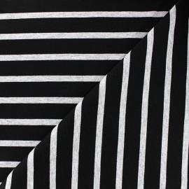 Tissu jersey réversible Marinière - gris/noir x 10cm
