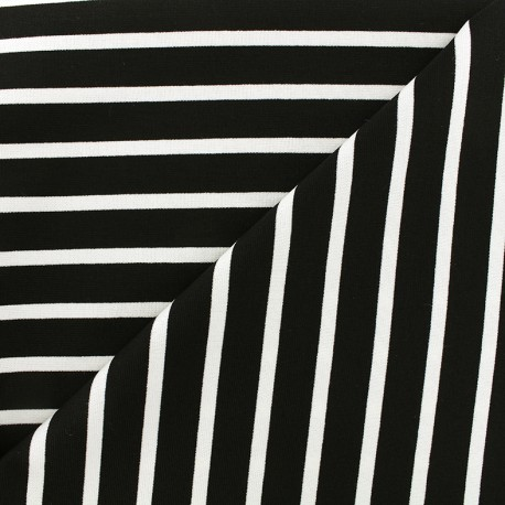 Reversible jersey fabric Marinière - white/black x 10cm