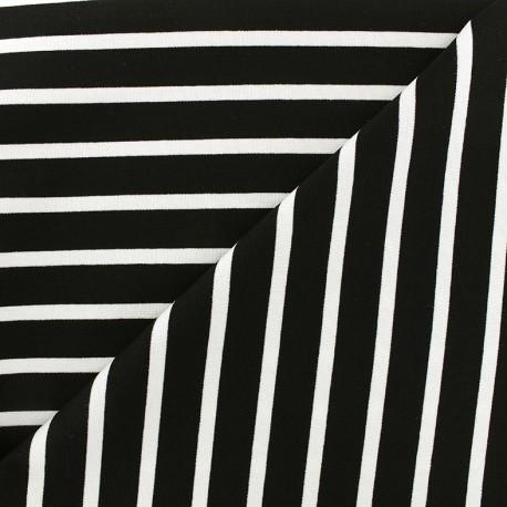 Tissu jersey réversible Marinière - blanc/noir x 10cm
