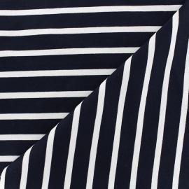 Tissu jersey réversible Marinière - blanc/marine x 10cm