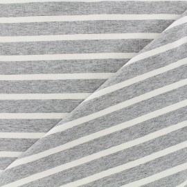 Reversible jersey fabric Marinière - white/grey x 10cm
