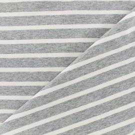 Tissu jersey réversible Marinière - blanc/gris x 10cm