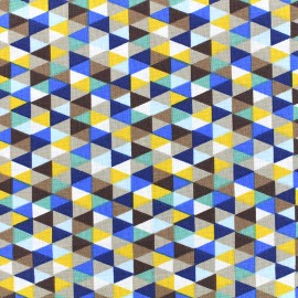 Tissu coton Poppy Triangular - bleu roi x 10cm