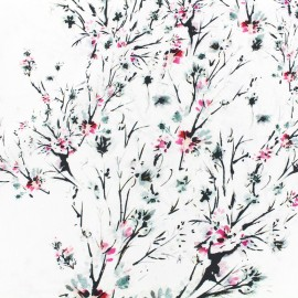 Tissu crêpe Blossom tree - blanc x 10cm