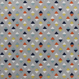 Tissu déperlant nano-tex Pyramyd - gris/orange x 10cm