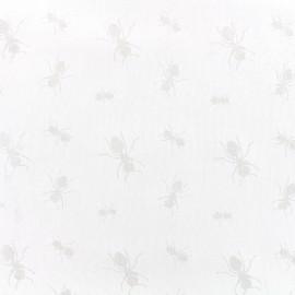 Devoured light cotton fabric Fourmi - white x 10cm