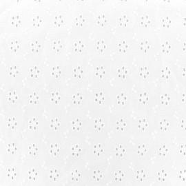 Tissu coton brodé ajouré Alva - blanc x 10cm