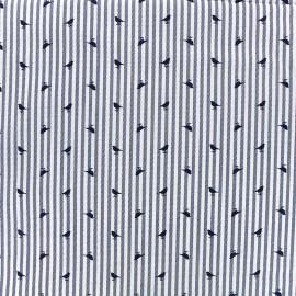 Tissu coton popeline Little Birdy - bleu x 10cm
