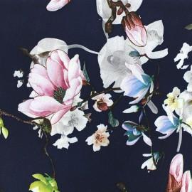 Tissu crêpe Magnolia - marine x 10cm