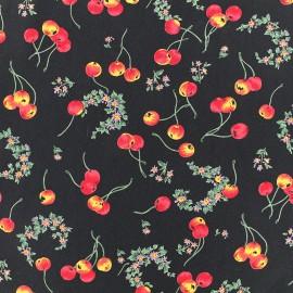 Tissu crêpe Cherry - noir x 10cm