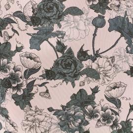 Tissu Gabardine Lycra légère Garden - rose x 10cm