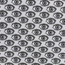 Cretonne Cotton Fabric L'oeil - grey/black x 10cm
