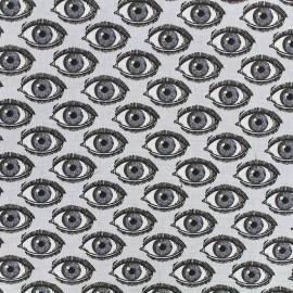 Tissu coton cretonne L'oeil - gris/noir x 10cm