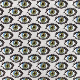 Tissu coton cretonne L'oeil - multi x 10cm
