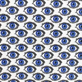 Tissu coton cretonne L'oeil - ivoire/bleu x 10cm