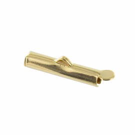 Slide end tube for bead weaving 20 mm - gold