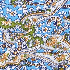 Biais motif cachemire 25 mm - turquoise x 1m
