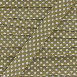 Biais coton à pois 18mm - blanc/beige foncé x 1m